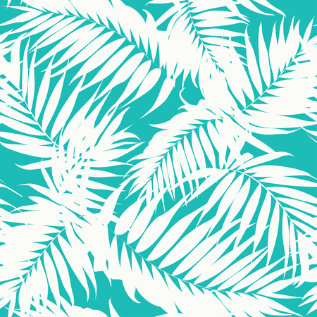 Tropical khaki camouflage seamless background texture. White jungle tree leaves on turquoise blue backdrop. Fashion fabric pattern. Vector design illustration. Ilustração