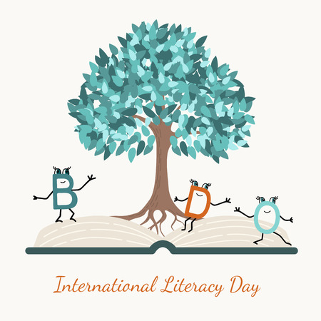 Literacy day concept symbol vector design illustration. Open book, wisdom tree, funny letter characters. Illustration