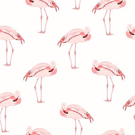 Beautiful exotic pink flamingo wading bird standing posture. Seamless pattern on white background. Vector design illustration for fashion, textile, fabric, decoration. Illustration