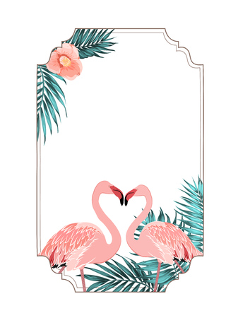 green environment: Exotic tropical border frame template for event invitation card. Pink flamingo birds beak to beak heart shape. Jungle tree leaves and camelia flower decoration. Vector design illustration.