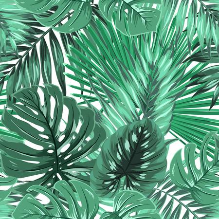 Tropical rainforest palm monstera leaves seamless pattern. Bright green on white island paradise background. Botanical vector design illustration. Çizim