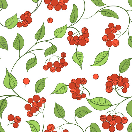 guelder rose: Autumn seamless pattern of red guelder rose berries, bright green leaves texture on white background.