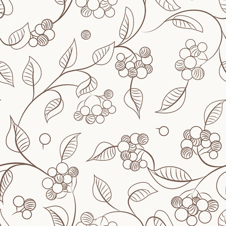 Autumn berries on shrub branch with leaves. Seamless pattern texture. Brown outline on beige background. Guelder rose kalyna bush. Vector design illustration. Illustration