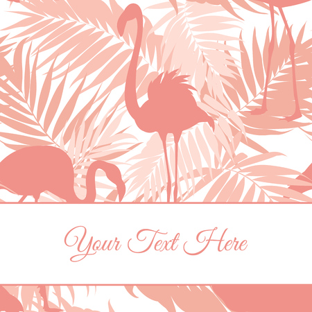 wading: Pink flamingo birds and tropical rainforest leaves outline silhouette. White stripe for text placeholder. Exotic card poster multi-purpose print template. Illustration