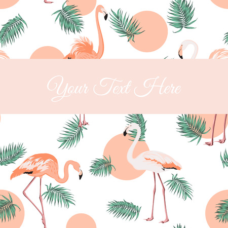 wading: Green tropical jungle palm tree leaves. Exotic flamingo wading birds. Crimson sunset circle dot. Pink stripe rectangle with text placeholder. Card poster template. Illustration