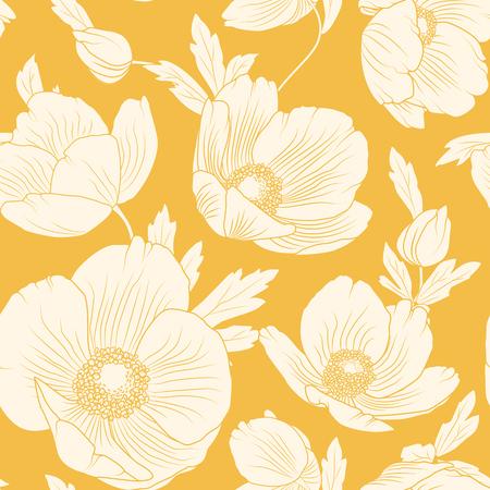 Hellebore flowers bloom blossom seamless pattern. Winter Christmas rose. Lenten rose. Helleborus niger. Detailed floral foliage drawing. Vector design illustration. Bright yellow orange background.