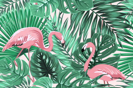 Tropical seamless pattern texture with exotic green palm jungle tree monstera leaves and pink flamingo birds couple. Vector design illustration for background, decoration, fashion, fabric, textile. Ilustração