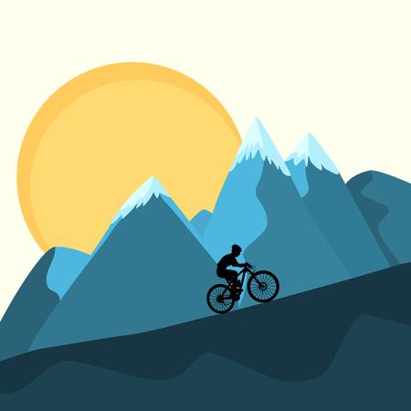 Cross country mountain bike rider uphill climb on sunset ridge peaks beautiful blue yellow nature background. XC marathon race altitude stamina strength training. Silhouette outline vector design. Illustration