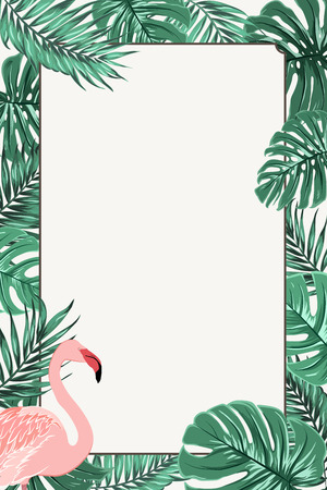 Rectangle border frame template decorated with green tropical jungle palm tree leaves and exotic elegant pink flamingo bird in the corner outside. Card poster promo template. Place for text.