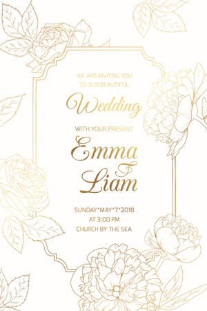 Wedding event invitation vintage card template. Border frame blooming rose peony flowers. Bright light shiny golden gradient. Clean white background. Vertical portrait aspect ratio. Text placeholder.