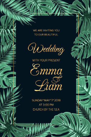 Wedding marriage invitation card template. Exotic tropical jungle rainforest bright green palm tree monstera leaves border frame dark black night background. Shiny golden gradient text color.