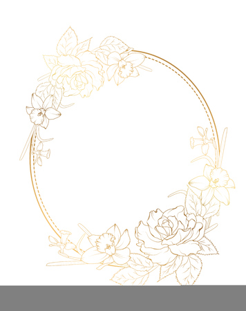 Oval border frame decorated with rose peony daffodil narcissus flowers. Bright shining gold gradient color on white background.