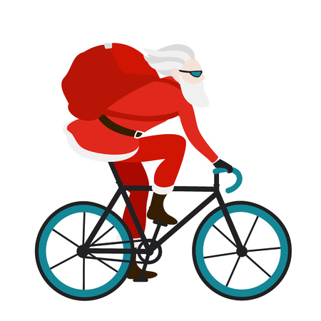 Santa bicycle delivery logistics courier.