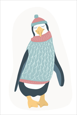 Funny happy penguin cartoon character wearing knitted sweater and hat. Clumsy antarctica bird animal. Isolated on white background. Christmas New Year theme. Flat design vector illustration. Illustration