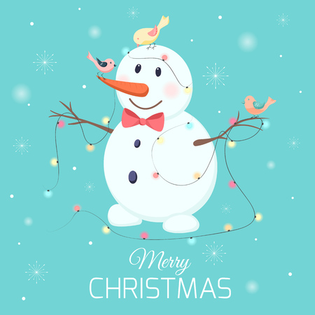 White snowman happy smiling cartoon character on blue background with snowflakes. Carrot nose and red bow tie. Colorful birds. Lights garland. Merry Christmas card poster template. Vector illustration