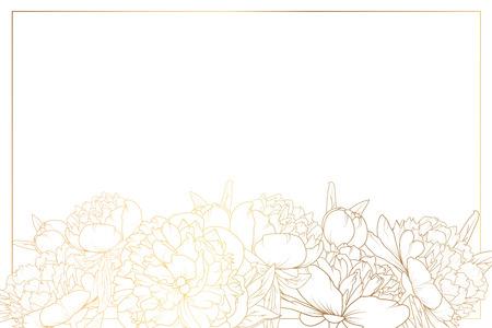 작 약 장미 꽃 테두리 프레임 장식. 가로 가로 레이아웃의 꽃 단풍 garland 하단입니다. 흰색 배경에 황금 빛나는 그라디언트 빛 반사. 벡터 디자인 템플 일러스트