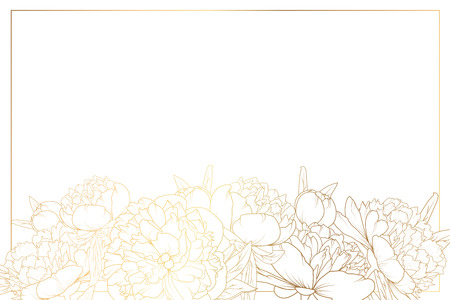 Peony rose flowers decorated border frame. Floral foliage garland bottom of horizontal landscape layout. Golden shining gradient light reflection on white background. Vector design template. Illustration