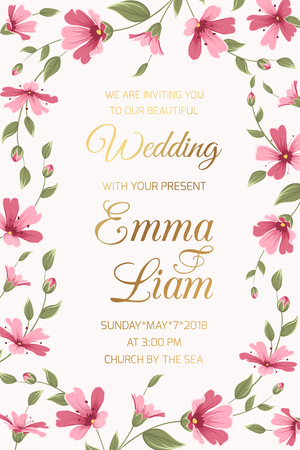 Wedding marriage invitation card template. Rectangular floral border frame with shiny golden gradient text placeholder. Gypsophila baby breath pink purple flowers garland foliage. Vector illustration. Vettoriali
