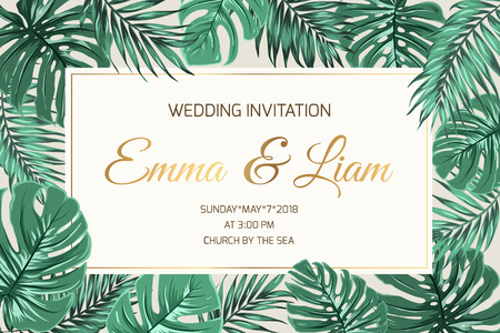 Wedding marriage event invitation card template. Exotic tropical jungle rainforest bright green palm monstera leaves border frame. Horizontal landscape layout. Shiny gold gradient text placeholder. Illustration