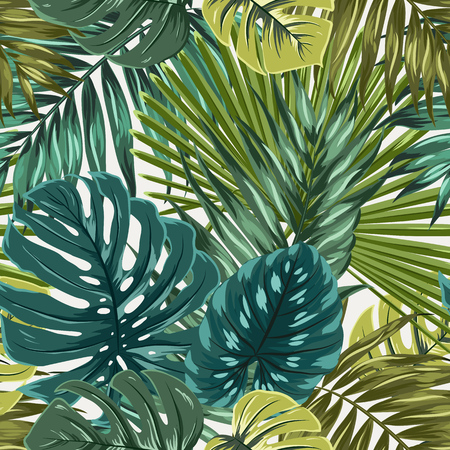 Rainforest palm monstera leaves camouflage pattern. Vectores