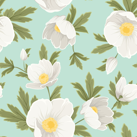 Hellebore anemone christmas winter rose floral seamless pattern texture. White yellow flowers with green leaves foliage on light blue sky background cover. Vector design illustration.
