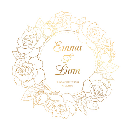 Rose peony floral wreath frame. Luxury bright golden shining gradient effect. Blooming spring summer flowers. Wedding marriage event invitation template. Save the date. Text placeholder.