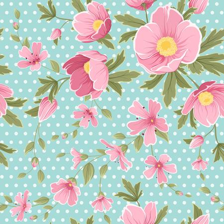 Bright pink purple anemone hellebore gypsophila flowers composition on blue polka dot background. Spring floral seamless pattern. Vector design illustration for fashion, fabric, textile, decoration. Illustration