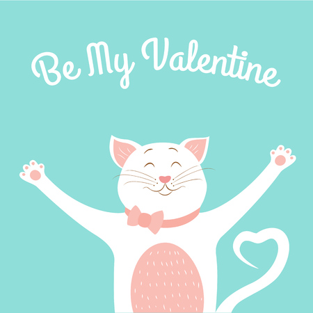 Valentine day lovely greeting card template. Cute smiling happy cat animal cartoon character pink white isolated on light blue background. Hugs posture. Bow tie. Heart shape tail. Text placeholder.