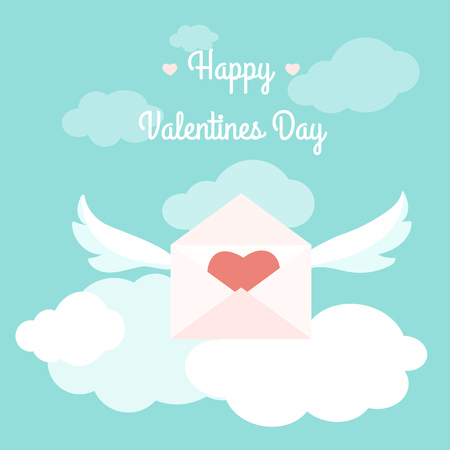 Valentine day greetings delivery concept flying love letter happy valentines day greeting card template concept vector design illustration love letter open envelope pink m4hsunfo
