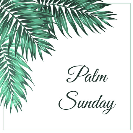 Palm Sunday Christian feast holiday. Tropical jungle tree palm green leaves corner frame decoration. Text placeholder. White background. Vector design illustration. Vettoriali
