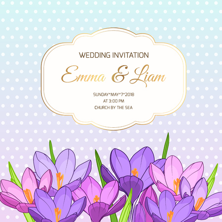 Violet purple spring crocus flowers bouquet. Wedding marriage event invitation card template. Save the date RSVP. Luxury golden vintage border frame with text placeholder. Polka dot background.