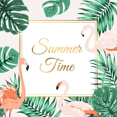 Exotic tropical border frame template with bright green jungle palm tree monstera leaves and flamingo birds. Illustration