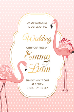 Exotic flamingo birds on pink white polka dot background. Wedding marriage event invitation card template.