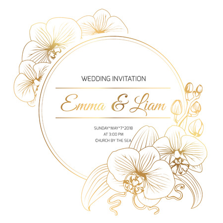 Phalaenopsis orchid flowers border frame decoration. Wedding marriage event invitation template. Modern luxury bright shiny golden gradient. Title text placeholder. Vector design illustration. Иллюстрация