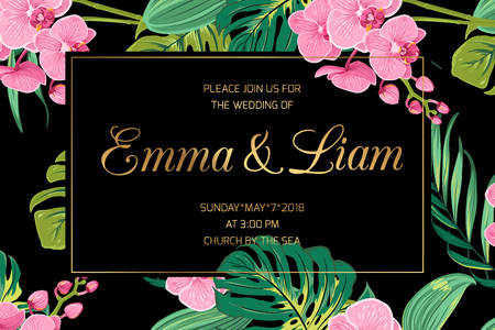 Wedding invitation card template. Pink orchid phalaenopsis flowers. Exotic tropical jungle bright green palm tree monstera leaves. Border frame dark black night background. Golden text placeholder. Illusztráció