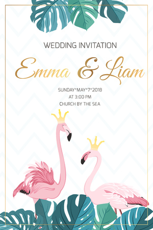 Wedding marriage event invitation template. Exotic pink flamingo birds couple wearing golden crown. King queen love concept illustration. Tropical monstera green leaves top bottom frame decoration.