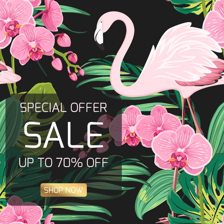 Spring summer sale discount campaign promo special offer banner template. Shop now button. Exotic pink flamingo bird, orchid phalaenopsis flowers, tropical jungle green leaves on black background.