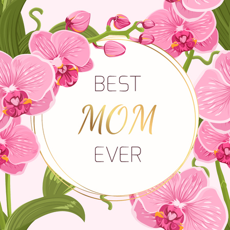 Mothers day greeting card template. Round border circle frame wreath ring decorated with exotic pink purple orchid phalaenopsis flowers garland foliage bouquet. Shiny golden gradient text placeholder. Illusztráció