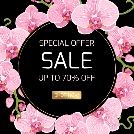 Spring summer sale discount campaign promo special offer banner template. Shop now button. Exotic pink pink purple orchid phalaenopsis flowers round circle ring wreath border frame black background.
