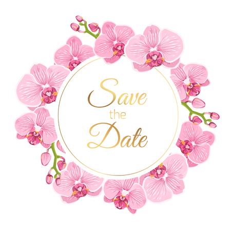 Wedding marriage event invitation save the date RSVP card template. Pink orchid phalaenopsis flowers round circle wreath vector design element isolated white background. Text placeholder shiny gold. Vettoriali