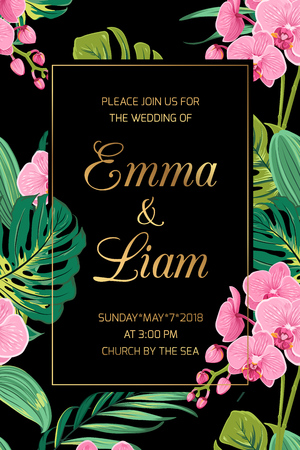 Wedding invitation card template. Exotic tropical jungle bright green palm tree and monstera leaves. Pink orchid phalaenopsis flowers border frame on dark background. Vertical portrait aspect ratio.