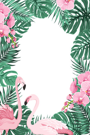 Tropical jungle rainforest green palm tree monstera leaves, orchid phalaenopsis flowers exotic pink flamingo birds. Border frame decoration template for invitation greeting card banner poster. Ilustração