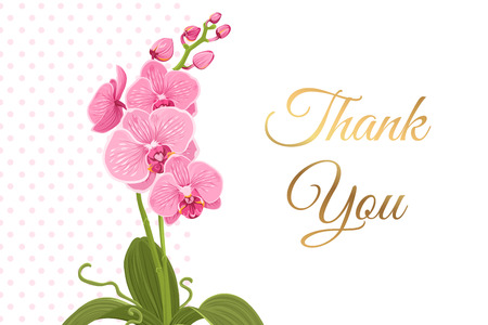 Courtesy thank you card template. Bright pink purple exotic orchid phalaenopsis flower plant greenery. Isolated on polka dot white background. Shiny golden gradient text placeholder.