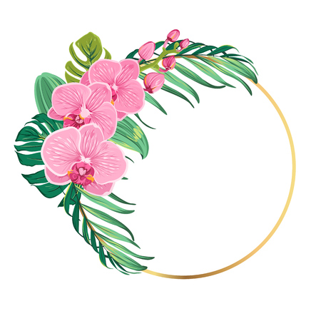 Round circle ring border frame decorated with exotic pink orchid phalaenopsis flowers and tropical green jungle tree palm monstera leaves. Floral botanical greenery bouquet foliage garland.