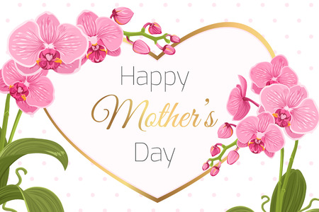 Mothers Day greeting card banner template. Pink purple orchid phalaenopsis flowers foliage garland. Decorated heart shape frame. Shiny golden text placeholder. Polka dot background. Flowering plant. 矢量图像