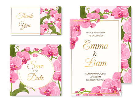 Wedding marriage event invitation thank you card template set. Pink purple exotic orchid phalaenopsis flowers, Golden text title placeholder. Vector design illustration.