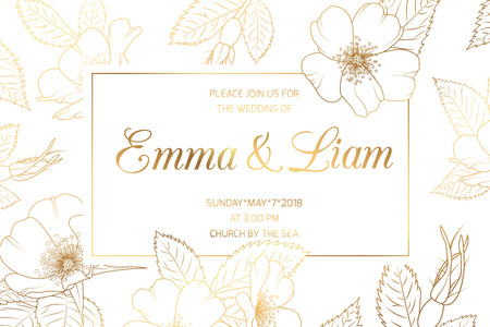 Wedding mariage event invitation card template. Border frame with wild rose rosa canina cherry sakura flowers bloom blossom. Luxury shiny golden style. Title text placeholder. Save the date RSVP.