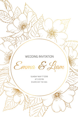 Wedding mariage event invitation card template. Circle ring round wreath border frame with wild rose rosa canina cherry sakura flowers bloom blossom. Luxury shiny golden style. Text placeholder. Vectores
