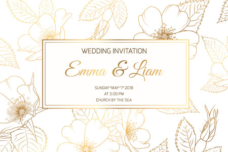 Wedding marriage event invitation card template. Wild rose rosa canina dog rose garden flowers. Detailed outline drawing. Rectangular border frame with text placeholder. Luxury bright shiny golden. Illustration
