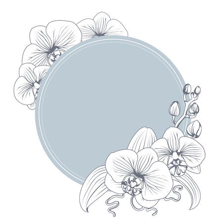 Orchideen-Phalaenopsis-Blumenzweig-Blumenstrauß-Konturumriss. Schwarzweiss-Strichgrafikillustration. Blauer blaugrüner Kreisring mit Blumenschmuck. Vektorentwurfsillustration.